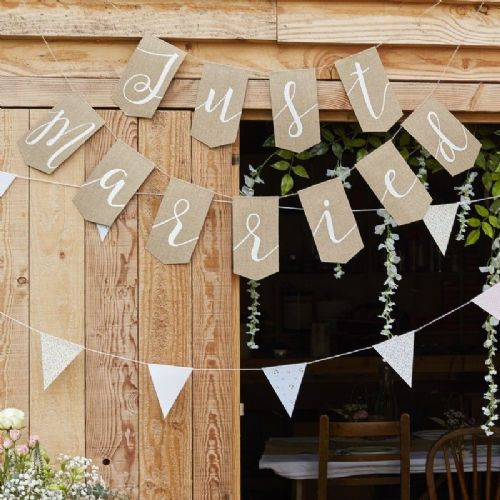 Rustic Country Just Married Hessian Bunting (each)